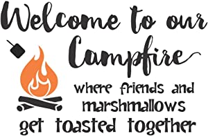 """Wall Decor Plus More WDPM3808 Welcome to Our Campfire Camper Wall Art Decals Wall Stickers Lettering, 23"""" x 14"""", Black with Orange Flame"""