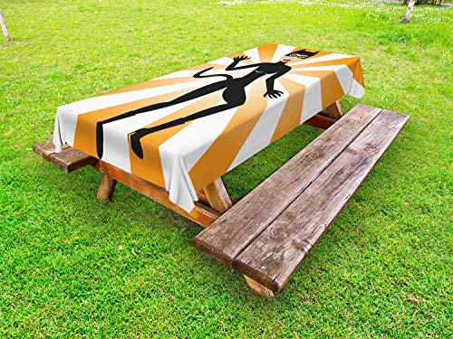 Ambesonne Retro Outdoor Tablecloth, Cat Woman Halloween Costume on Starburst Background, Decorative Washable Picnic Table Cloth, 58 X 104 Inches, Pale Orange Ecru Laurel Green Charcoal ()
