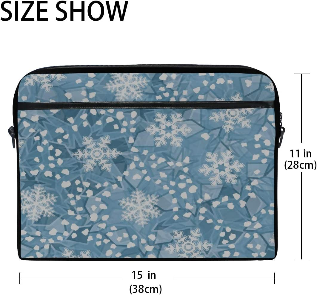 Briefcase Messenger Shoulder Bag for Men Women College Students Business People Office Workers Laptop Bag Editable Ice Color Pattern Foreground 15-15.4 Inch Laptop Case