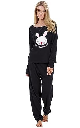 93b8b16139 Crazy Girls Ladies Long Sleeve Pyjama Set Womens Cotton Bunny Print PJ s  Nightwear (US8-