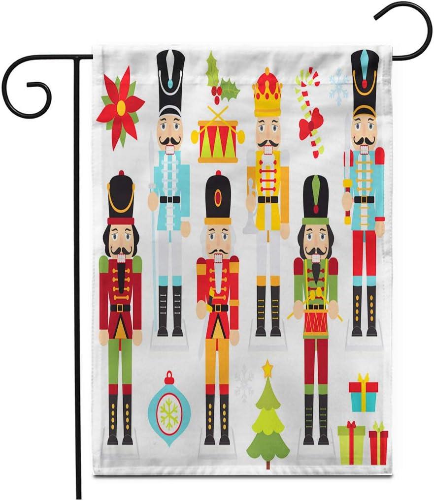 "Adowyee 12""x 18"" Garden Flag Christmas Nutcrackersnutcracker Ornament Bauble Xmas Ballerina Animal Bell Cute Outdoor Double Sided Decorative House Yard Flags"