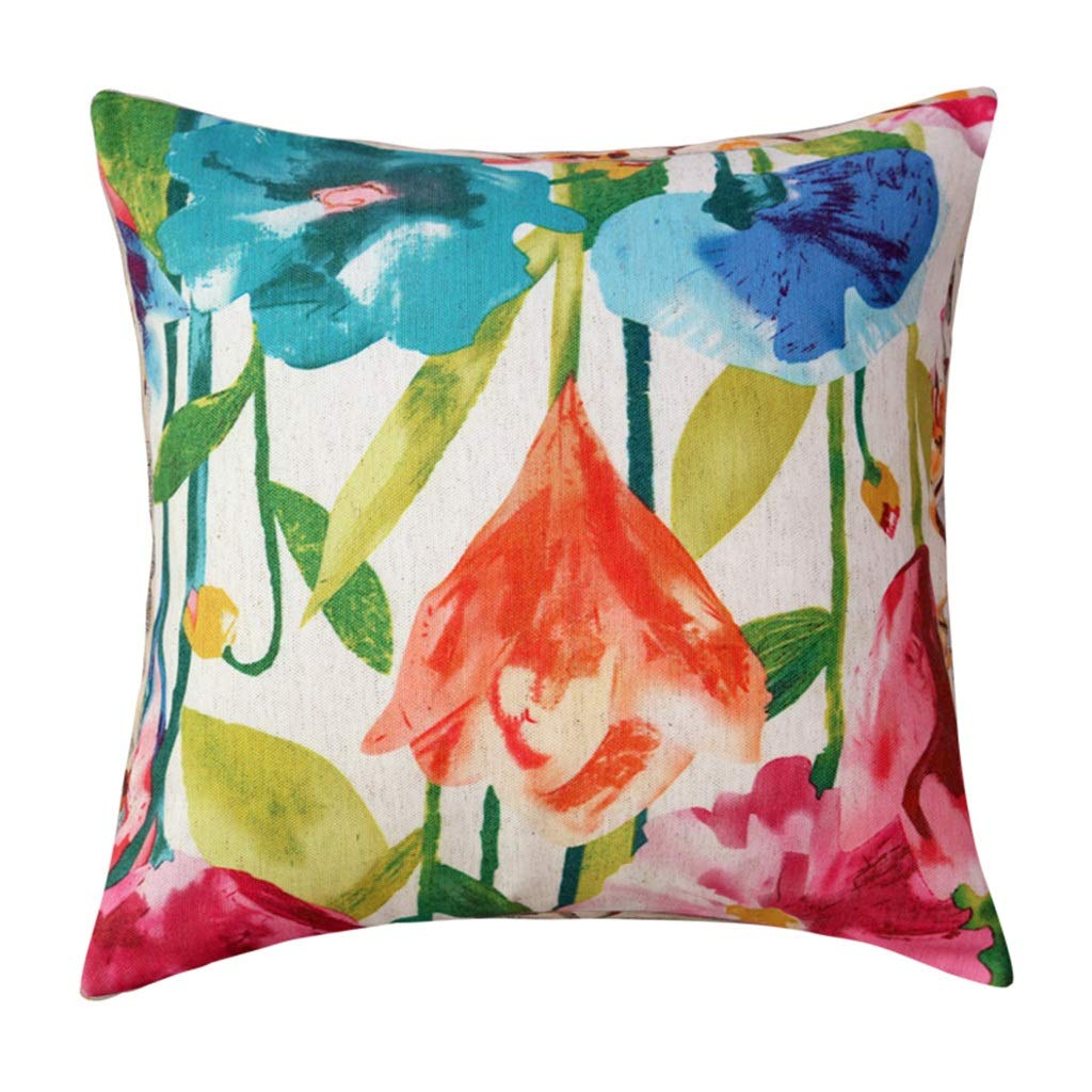B Pillow Cushion Sofa Pillow Cushion Office Pillow Bed Backrest Car Waist Cushion Nordic Style Flowers and Birds with Pillow Core Removable and Washable 45x45cm (color   D)