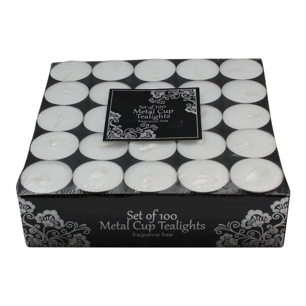 100 Tea Lights Set - White - Unscented Candles by Dynamic Collections