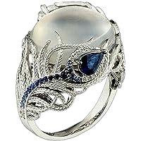 Luxury Ring, Balakie Unique Floral Moonstone Treasure Sapphire Diamond Wedding Band Rings