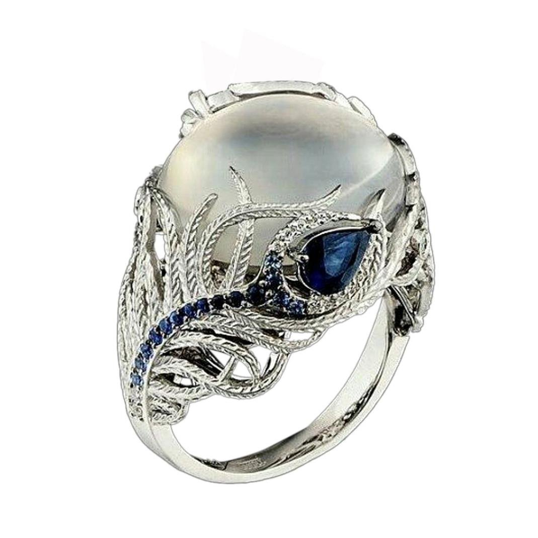 Luxury Ring, Balakie Unique Floral Moonstone Treasure Sapphire Diamond Wedding Band Rings (Multicolor, 9) by Balakie Ring (Image #1)