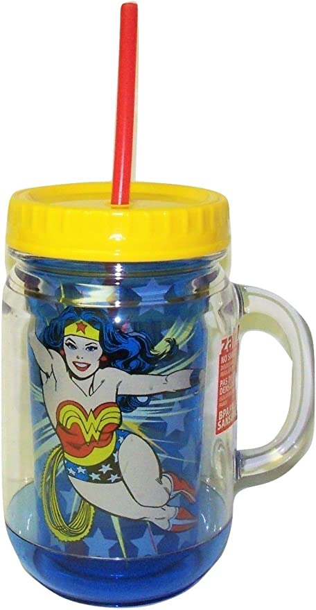DC Comics BATMAN Costume Clear 16oz Insulated TUMBLER w// Lid /& Straw