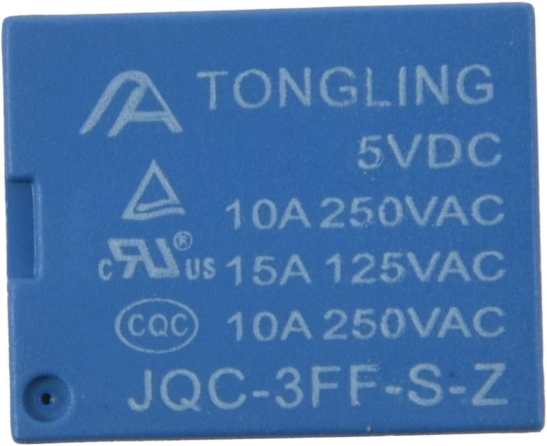 CUHAWUDBA 1 Pz Blu Nero Metallo 5 Pin Conversione Tipo 10a 250vac Jqc-3ff T73 Usato 5v Rel/è 1.92 x 1.54 x 1.54cm