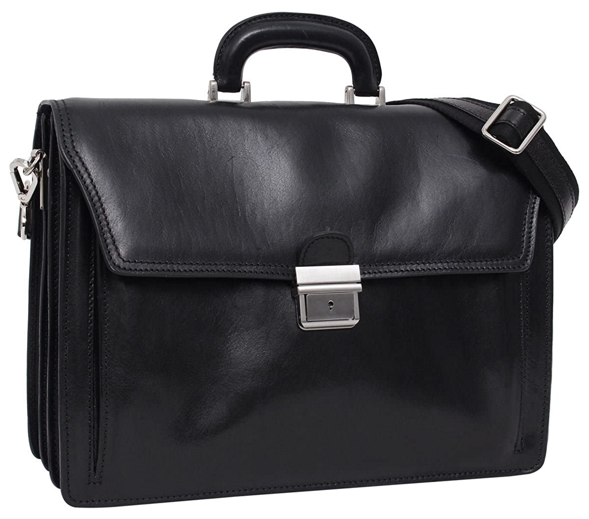 "Gusti Cuir studio ""Clemens"" sac business made in Italy sac bureau attache-case en cuir véritable sac notebook ordinateur portable 15, 4"" sac professeur hommes femmes noir 2B30-93-2"