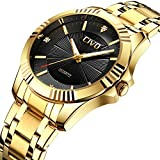 CIVO Mens Golden Watches Luxury Business Waterproof Wrist Watch for Men Elegant Casual Dress Simple Design Analogue Quartz Watches with Stainless Steel Band Black Dial