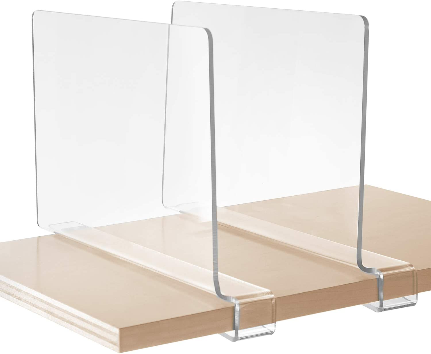 StorageMaid - Set of 2 - Acrylic Shelf Dividers for Bedroom Closets, Kitchen Cabinets, Wood Shelves, Bookcases and Libraries - Versatile, Multi-Functional Organizers for Home and Office - Clear