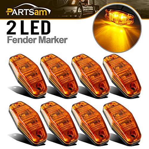 Partsam 8x 2 Diode Amber Mount Clearance LED Light Side Fender Marker Assembly truck trailer Universal
