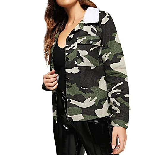 c9bf1493ce4a Sexy Women s Warm Fuax Fur Long Sleeve Coat Camouflage Tops Turn-Down  Collar Outwear Windbreaker