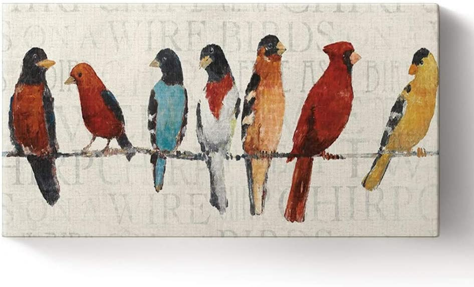 Libaoge Canvas Prints Wall Art Decor for Living Room - The Usual Suspects - Birds on a Wire Animal Wall Art Home Decoration - Streched and Framed Artwok Ready to Hang, 8x16 inch