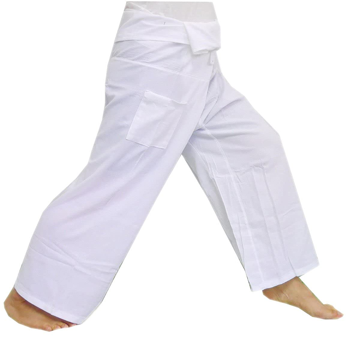 (Striped - White).!!. Thai Fisherman Pants Cotton 100% Traditional Tailoring Style Yoga Pants , Relax Pants , Clothes Thai Summer ClickThai