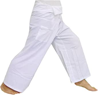 (Striped - White).!!. Thai Fisherman Pants Cotton 100% Traditional Tailoring Style Yoga Pants , Relax Pants , One Size