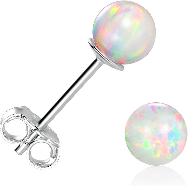 GEMSME 925 Sterling Silver Fire Opal Ball Stud Earrings 6mm White Gold Hypoallergenic Jewelry