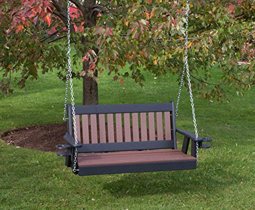 5FT-CEDAR-POLY LUMBER Mission Porch Swing with Cupholder arms Heavy Duty EVERLASTING PolyTuf HDPE - MADE IN USA - AMISH CRAFTED