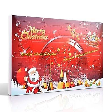 Weihnachtskalender Verschicken.Mjartoria Adventskalender Schmuck Weihnachtskalender Für Damen Mädchen Tochter Adventszeit Mit 24 überraschungen Xmas Modeschmuck Choker Kette