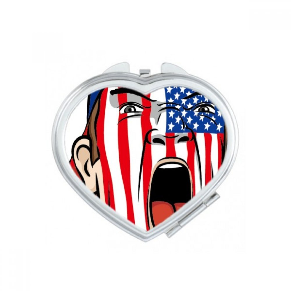 America USA National Flag Facial Painting Makeup Mask Screaming Cap Heart Compact Makeup Pocket Mirror Portable Cute Small Hand Mirrors Gift