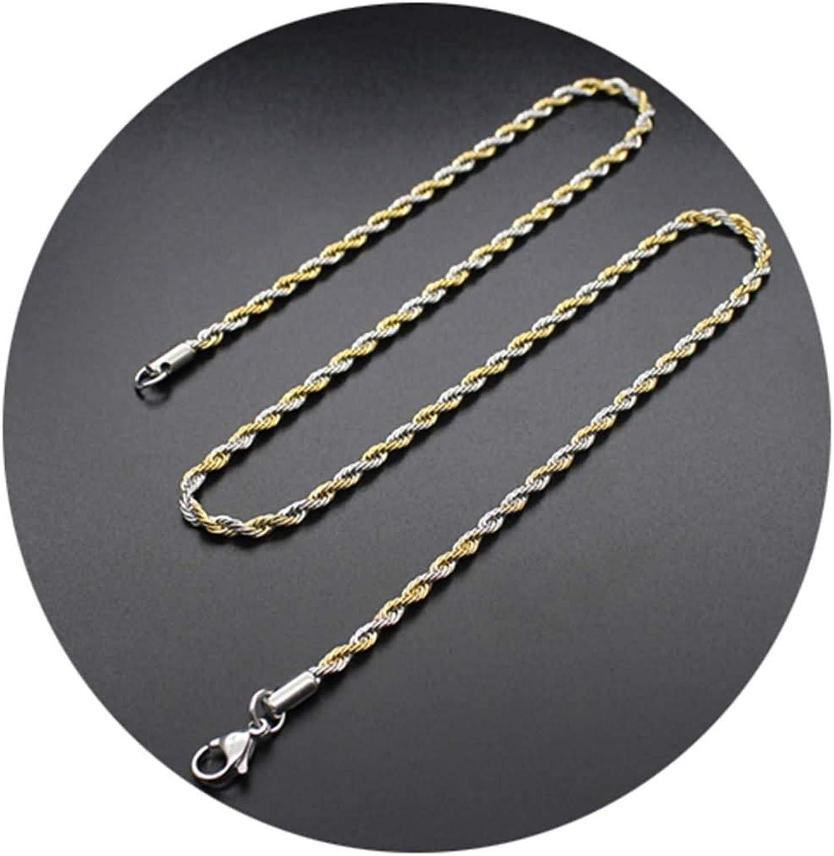 AueDsa Collar y Cadena Hombre,Cadena de Twisted Cadenas para Colgantes Acero Inoxidable Oro