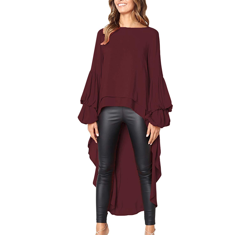 StarTreene Women Shirt Dress Asymmetrical Hem Puff Sleeve Loose Blouse Casual Top Pullover