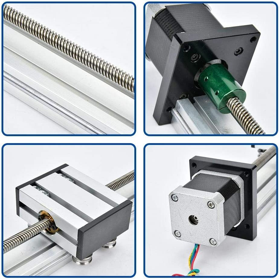 Aluminum Alloy 0808 Ball Screw Single-Shaft Trapezoid with 57 Motor 300mm Luckya Linear Slide Rail