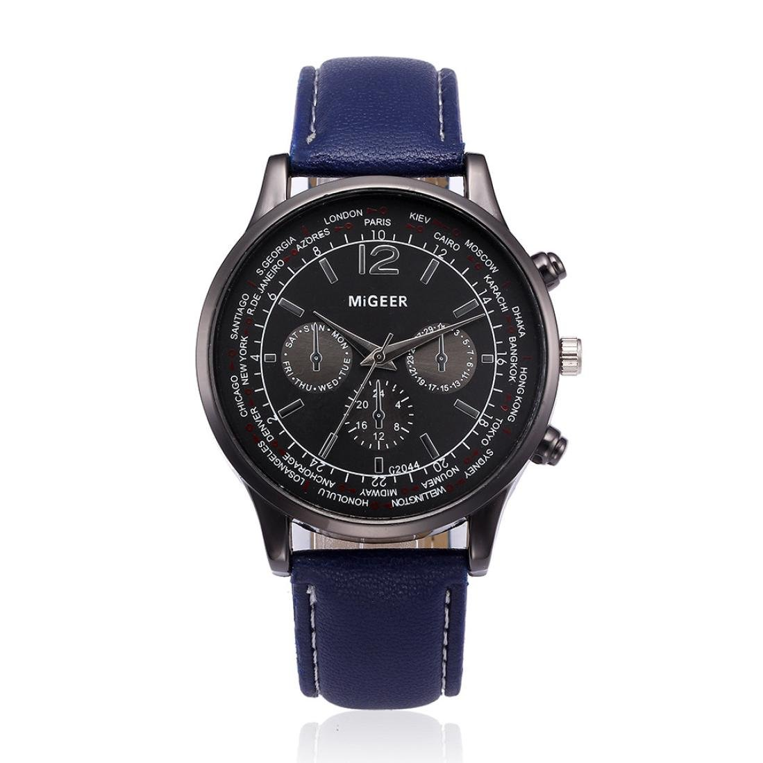 Nmch Big Promition,Mens Watch Classics Retro Wristwatch Leather Band Analog Alloy Quartz Watches (Blue)