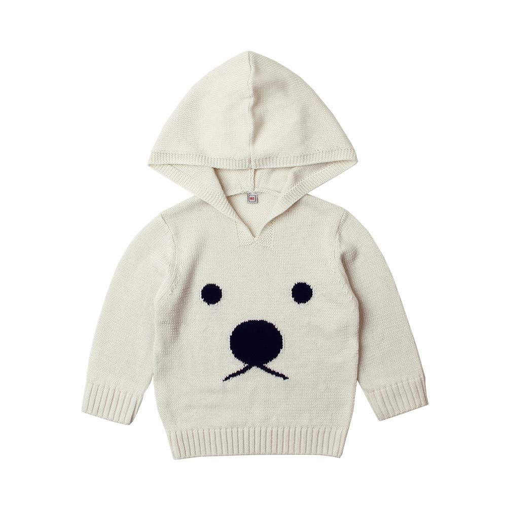 Toddler Baby Unisex Cartoon Bear Print Sweater Vovotrade Newborn Knitted Hooded Pullover Infant Kids Long Sleeve Knitwear Hoodie Tops