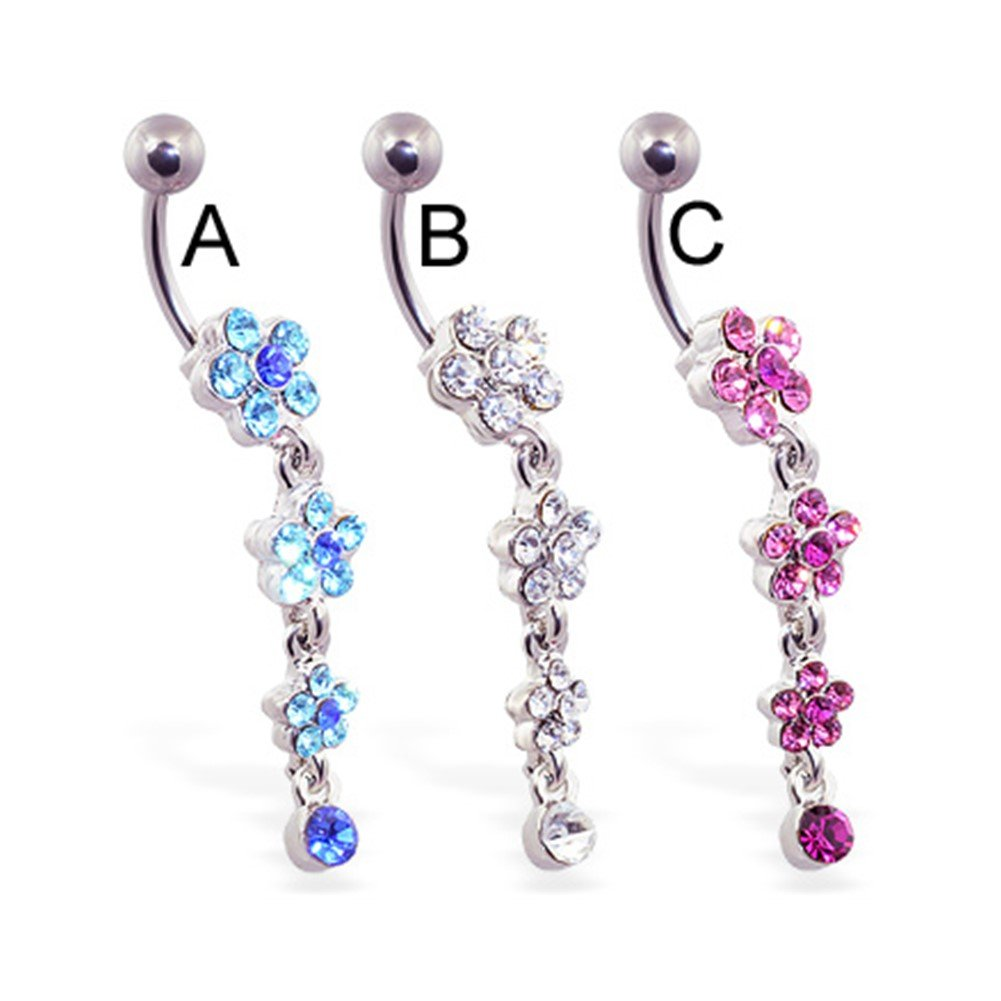 MsPiercing Navel Ring With Jeweled Flowers Dangle