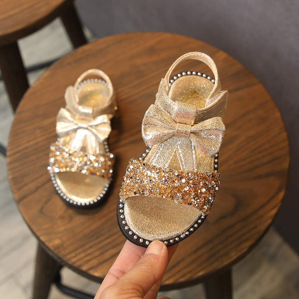 Randolly Toddler Shoes Kids Baby Girls Bowknot Bling Sequins Single Princess Shoes Sandals