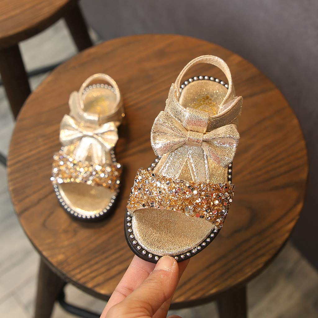 310f1af09776c Mary Jane Sandals Baby Girls Summer Bling Sequins Ballet Flats Princess  Dress Shoes with Bowknot for Toddler Kids Girls