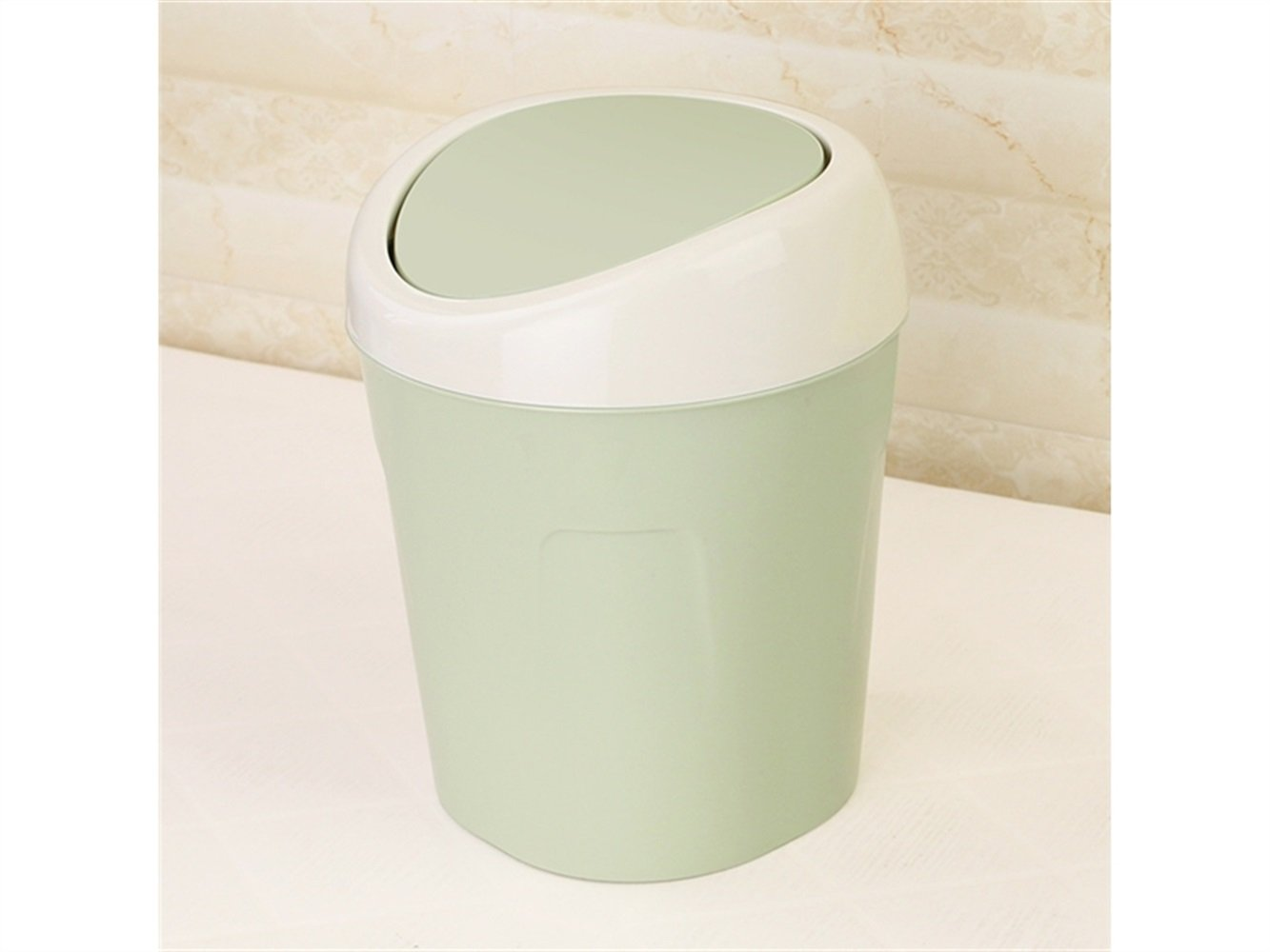 JwlqAy Countertop Garbage Trash Storage Flip Cover Rubbish Can Lid (Green)