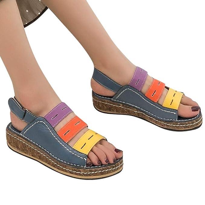 Wenini Fashion Women Summer Platform Strap Sandal Wedges Casual Peep Toe Sandals