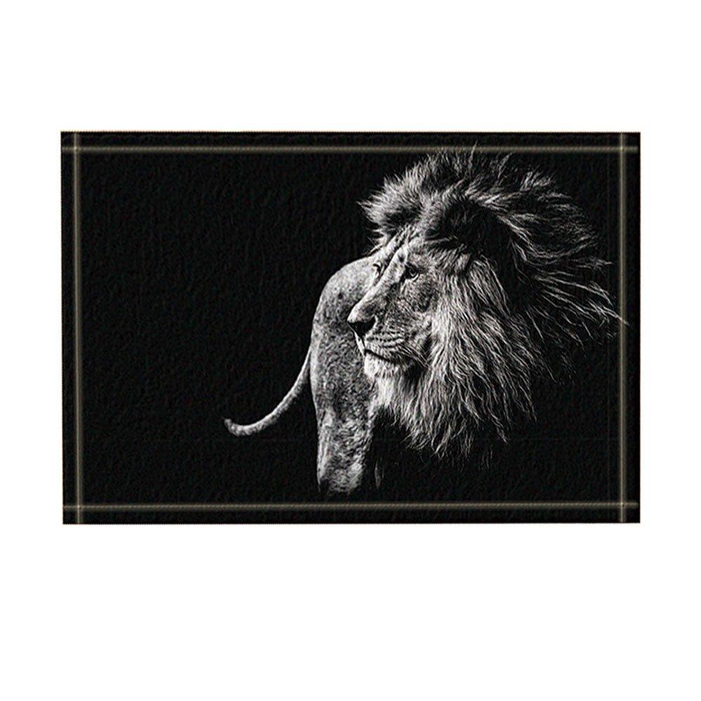 NYMB KOTOM Safari Wild Animals Decor, a Lion in Black and White Looks Bath Rugs, Non-Slip Doormat Floor Entryways Indoor Front Door Mat, Kids Bath Mat, 15.7x23.6in, Bathroom Accessories