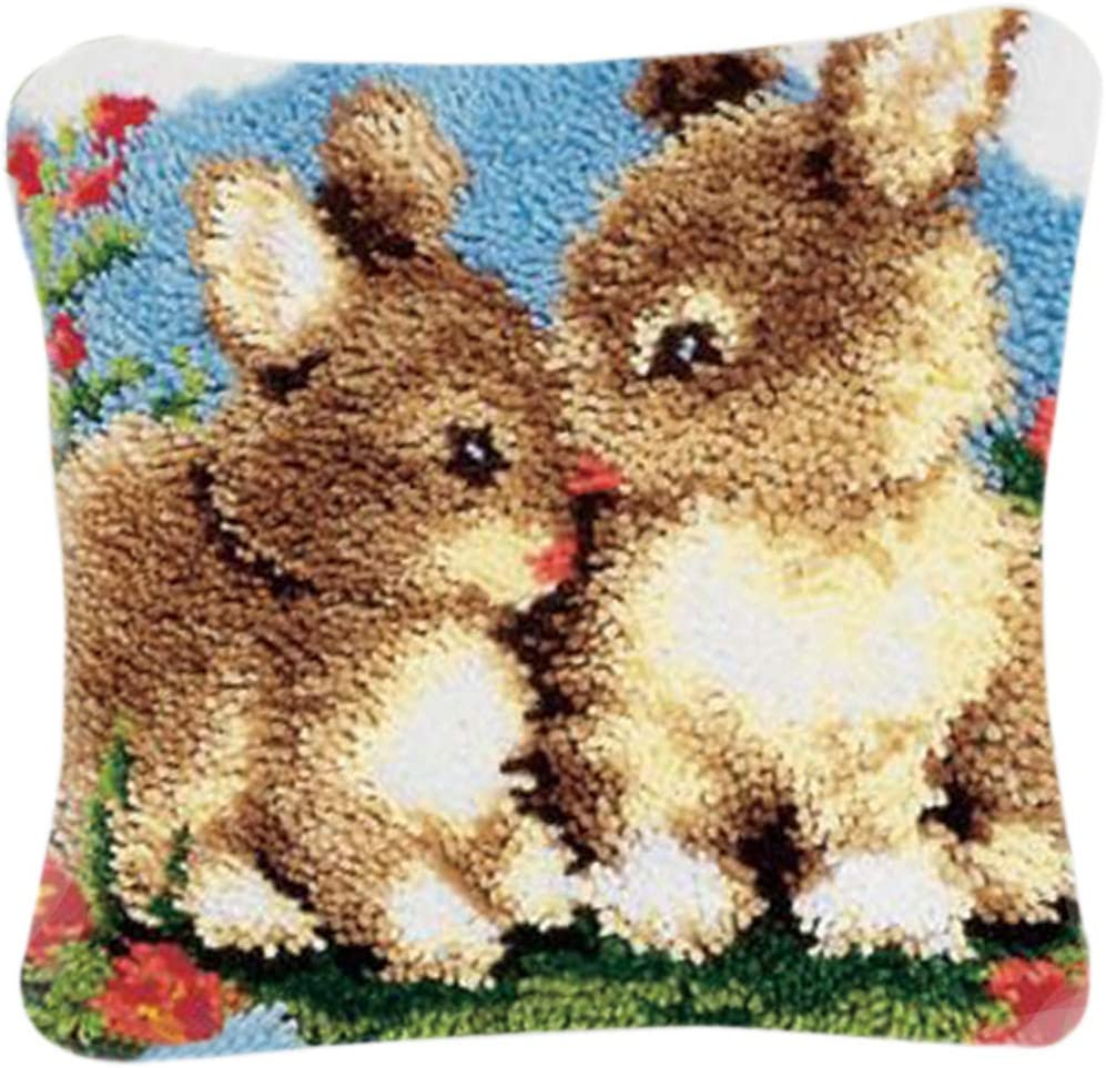 Creative Gift DIY Cushion Carpet Mat Latch Hook RuiyiF Latch Hook Kits Pillow Cover with Animals Pattern Rug Hooking Punch Needle Pillow Kits for Kids Beginners Adults