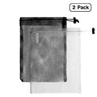 Linen and Bags Stuff Sack Nylon Mesh Bags Tote for Camping, Traveling, Gym, Storage with Drawstring 2 Pack