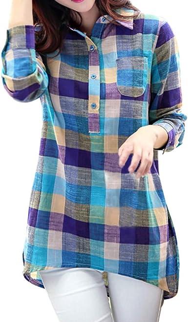 MEIbax Mujeres Camisa a Cuadros a Juego con Frente Abierta de Manga Larga con Estampado con Botón Casual de Cuadros Suelta Blusa Suéter Tipo Cardigan Sueltos Tops Sudaderas Abrigo Camisetas Superior: Amazon.es: