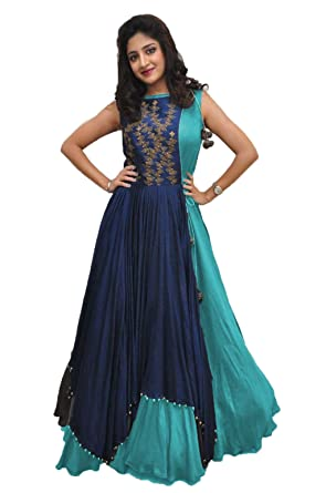 Rudra zone Women\'s Banglori Gown with Jacket (RZF018, Navy Blue ...