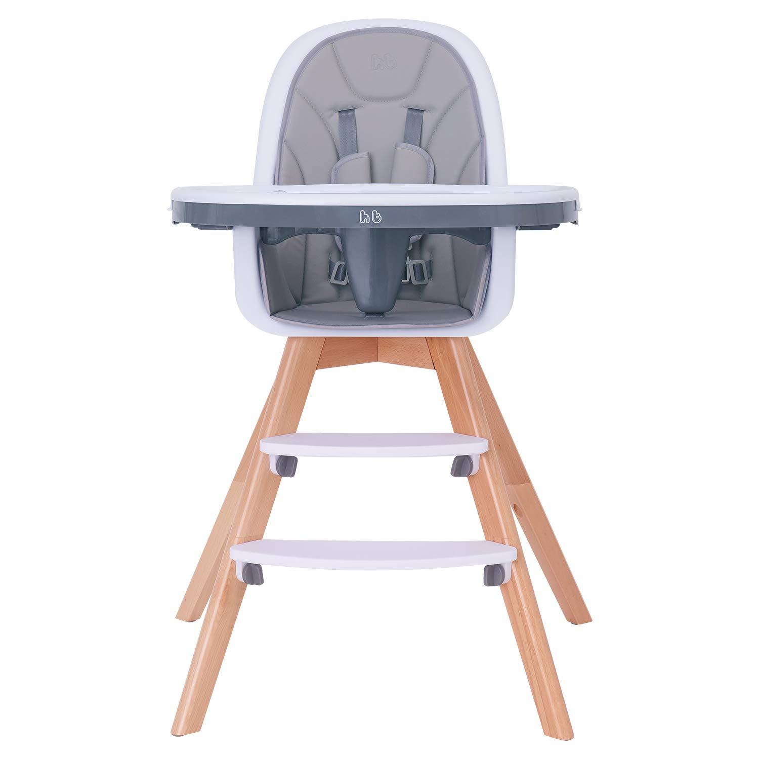 Baby High Chair, Wooden High Chair with Removable Tray and Adjustable Legs for Baby/Infants/Toddlers