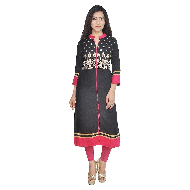 Chichi Indian Women Kurta Kurti 3/4 Sleeve Medium Size Plain with Side-Front Cut Straight Black Top by CHI (Image #6)