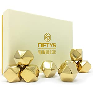 Whiskey Stones Gold Edition Gift Set of 8 Stainless Steel Diamond Shaped Ice Cubes, Reusable Chilling Rocks including Silicone Tip Tongs and Storage Tray by NIFTY5