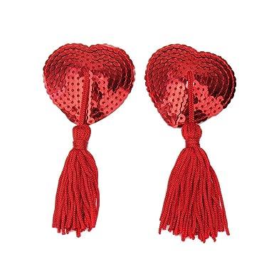 Sexi Cubierta Pezón Pecho Pezoneras Sujetador Forma Corazón Lentejuelas borlas para Mujer: Amazon.es: Ropa y accesorios