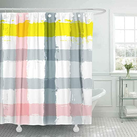 Amazon Com Shower Curtain Kioao Farmhouse Shower Curtain Liner Fabric Paint Stripe Pattern Checked Geometric Background Ink Grey Pink Yellow Strokes 78x72inch Extra Long Shower Curtain With Shower Curtain Hooks Home Kitchen