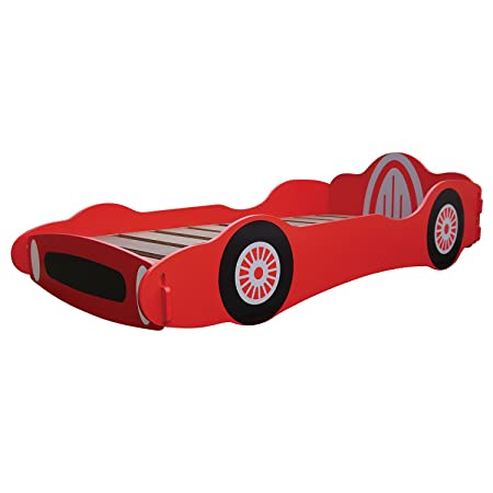 Red Childrens Wooden Car Bed Frame Single Boys Racing Car Bed ...