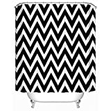 Homeizen Black and White Chevron Shower Curtain Set 71 X 71 Inches with 12 Rings - Premium Quality Woven Polyester Fabric - Unique Long Black White Chevron Design