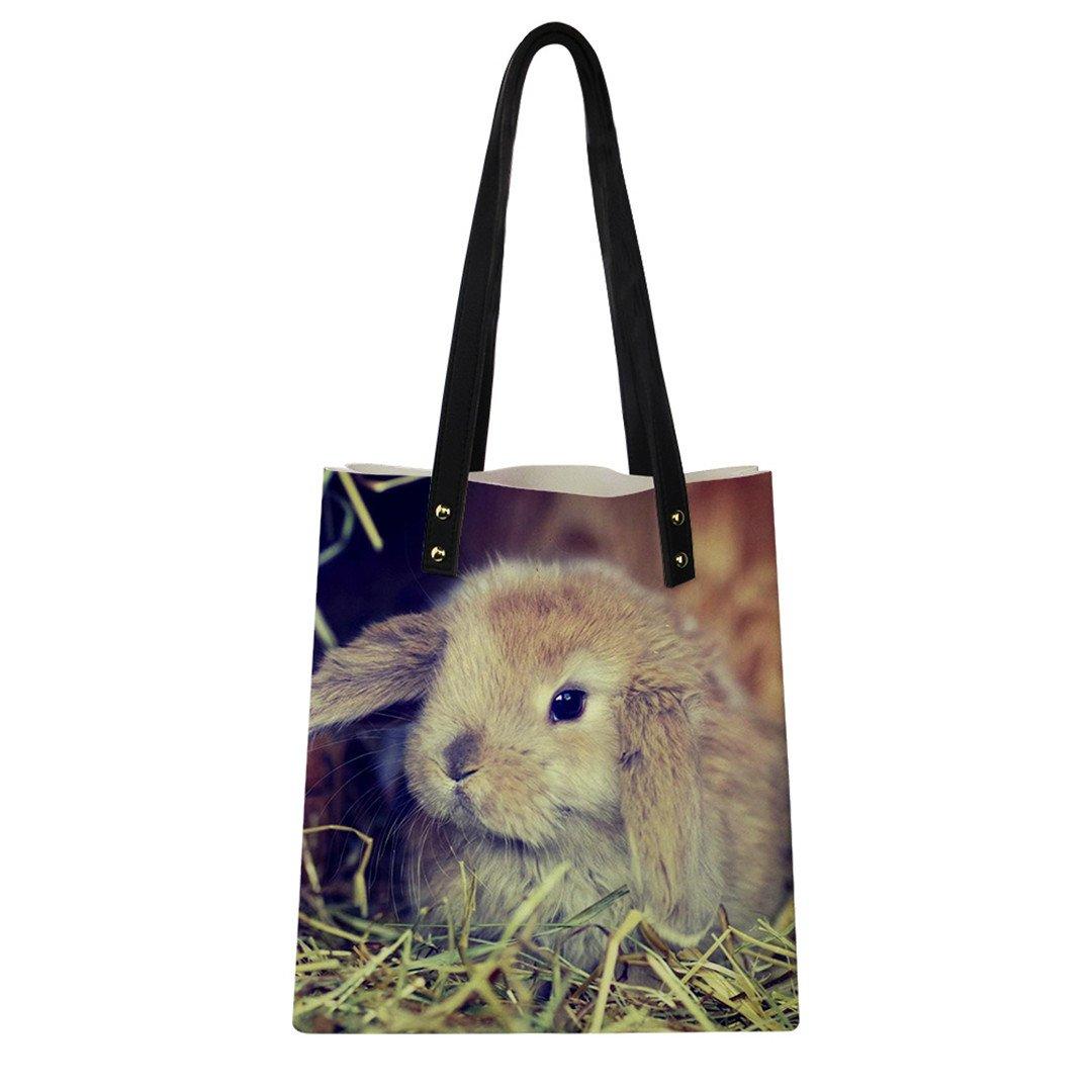 Leather Handbags For Women Bag Kawaii Rabbit 3D Printing Ladies Shoulder Bags Female Casual CB068Z7