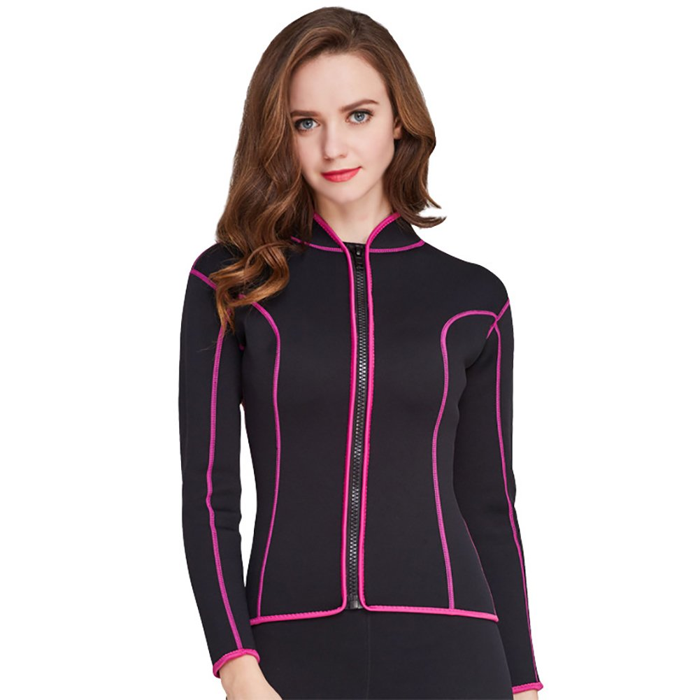 Lynddora Womens Long Sleeve 2MM Neoprene Diving Jacket Front Zipper Wetsuit Top Warm Protection (Black Pink, US M/Tag XL) by Lynddora