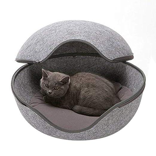 Corkcrd Cama de Fieltro para Gatos con diseño de Cueva ...