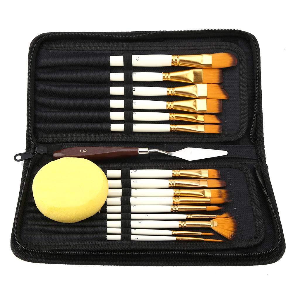 Set di pennelli per capelli in nylon 15 pezzi - Kit di pittura professionale per colori acrilici, ad olio e ad acquerello