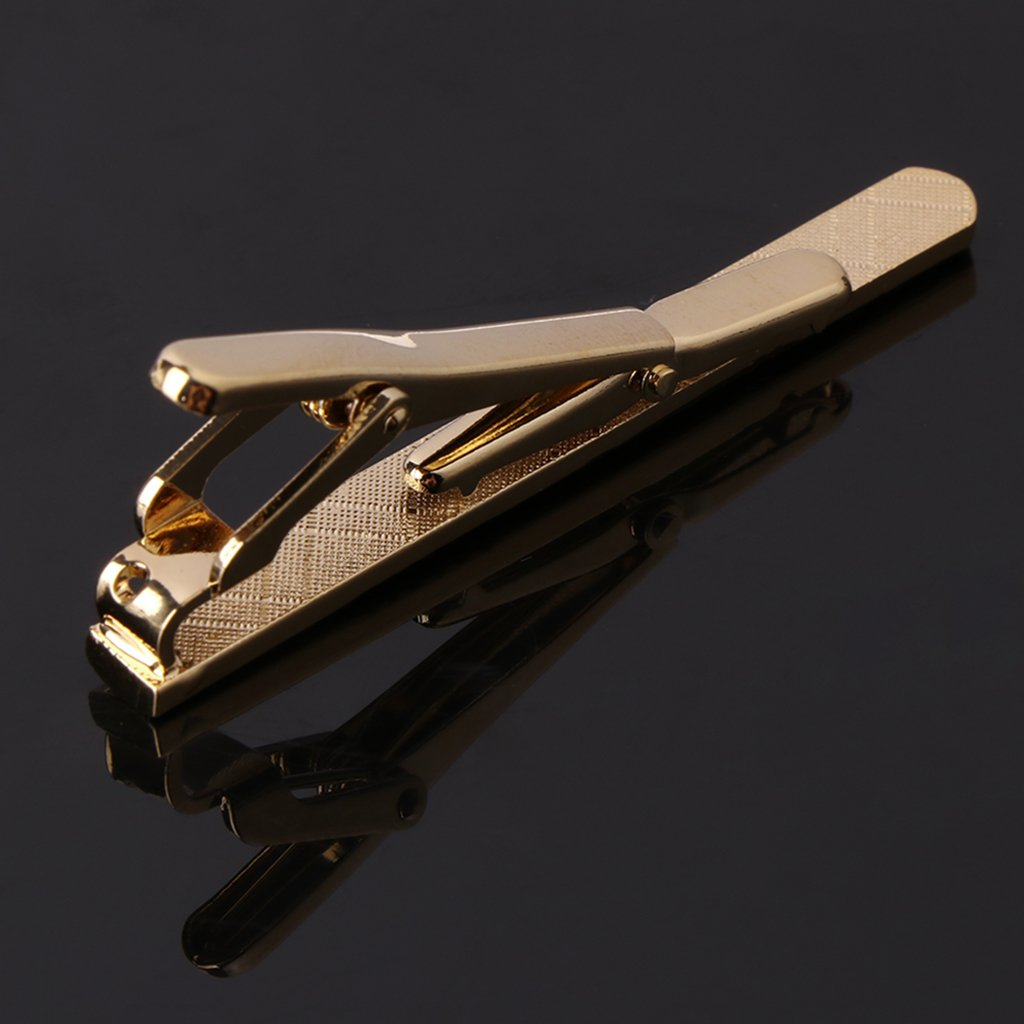 Business Shirt Accessory Balain Mens Tie Clip and Cufflinks Set Gold Rhinestone Decor